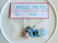 """I """"Wheelie"""" Like You.  Hot Wheels Valentine.  Super cute for boys! > Don't remember if I pinned this or not lol"""