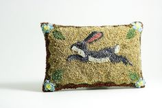 Lavender Sachet - Rabbit Punch Needle Embroidery. Folk Art Rabbit. Spring Home Decor. Bunny. Blue Flowers, Gold and Chocolate Brown.. $67.00, via Etsy.