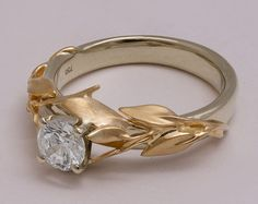 Leaves Engagement Ring No.8 14K Gold and Diamond by doronmerav