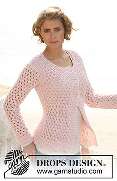 Pretty mesh patterned jacket with ribbed edging. Free pattern.