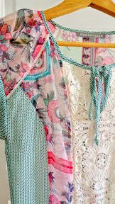 Stitch Fix match of a Daniel Rainn Tolley Mixed Print Crochet Detail Tie Neck Blouse is so interesting for spring and summer with its colors and materials