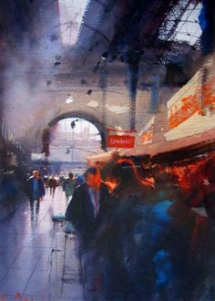 "Alvaro Castagnet, contemporary American watercolourist - ""Lunch, Monte Video"""