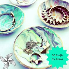 50 Crafts for Teens To Make and Sell. Check No.4 - Marbled Clay Ring Dish  http://diyprojectsforteens.com/crafts-to-make-and-sell-for-teens/?platform=hootsuite #diyjewelry #diycrafts #diycraft