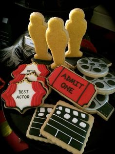 Cool cookies at an Oscar party! See more party ideas at CatchMyParty.com!