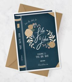 Vintage Book Cover Wedding Invitation for Library by MDBWeddings