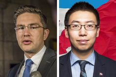 Andy Wang, right, former Parliamentary assistant to Employment and Social Development Minister Pierre Poilievre, left, is now seeking Conservative Party nomination in the new Ottawa riding of Nepean.