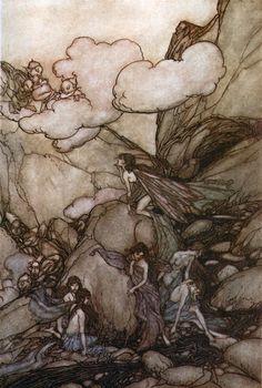 Arthur Rackham - These fairy mountains - Rip van Winkle by Washington Irving, 1905