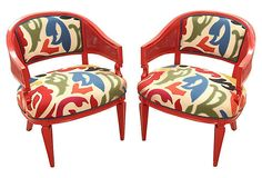 """Pair of antique barrel-back chairs upholstered in Oscar de la Renta's Felicity fabric designed for Lee Jofa. Chairs feature double cane on the inside and outside of the arms. Square legs are tapered in front and saber in back. Frames are lacquered in Benjamin Moore's Heritage Red. Refinishing and upholstered by Mission Avenue Studio. Measurements: 26"""" L x 27"""" W x 31,5"""" H; Seat 19""""H; Arm 26""""H. Weight: 45 Lbs. White Glove Shipping."""