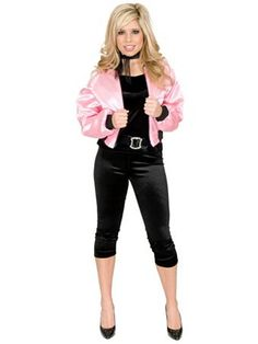 Pink Satin Lady Jacket Adult Costume | Wholesale 50's Halloween Costume for Plus Sizes