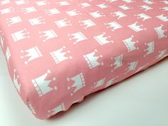 PINK crib sheet - baby girl nursery - PINK CROWNS crib fitted sheet - baby girl bedding- princess baby bedding- changing pad cover by NewMomDesigns on Etsy https://www.etsy.com/listing/218925926/pink-crib-sheet-baby-girl-nursery-pink