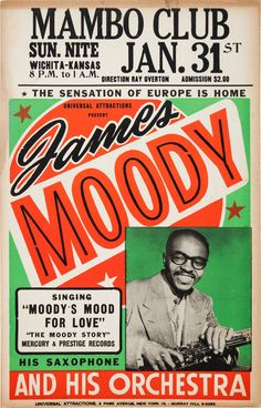 Bebop Jazz - James Moody Concert Poster (1960).... Music | Lot #89524 | Heritage Auctions