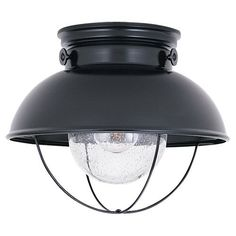 Sea Gull Lighting 8869-12 Outdoor Flush Mount Light by Sea Gull Lighting. $114.00. 8869-12 is a single light outdoor close to ceiling fixture and is part of the Sebring collection. This industrial and nautically inspired collection coordinates perfectly in coastal locations, while adding eye catching contrast to facades of any kind. Sebring is a complete outdoor collection with wall lantern, ceiling mount and post top fixture to unify your home's appearance.