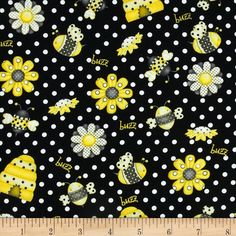 black bee fabric   Bee Happy Bees Black - Discount Designer Fabric - Fabric.com
