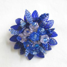 Vintage Hand Wired Cobalt Blue Art Glass Leaves Flowers and Beaded Leaves Brooch by MyVintageJewels