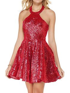 db1d34097f53 Dressylady A Line Halter Backless Short Sequin Homecoming Dresses at Amazon  Women s Clothing store