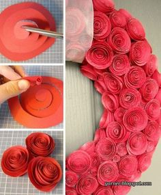 Paper Rose Wreath tutorial - perfect for Valentine's Day Cute Crafts, Crafts To Do, Arts And Crafts, Diy Crafts, Geek Crafts, Valentine Wreath, Valentine Crafts, Christmas Crafts, Flowers For Valentines