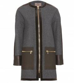 b1b07c99c4ac08 Etro - Leather-trimmed wool coat - mytheresa.com GmbH Karomantel,  Wollmantel,