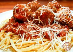 These meatballs are perfectly flavored and are excellent on top of a bed of spaghetti and great tomato sauce.