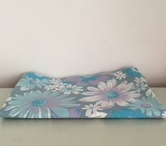 1960s Blue Floral Bed Sheet Retro Fabric by stylesixties on Etsy