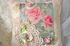 French Shabby Chic Pink Rose Pillow by OliviabyDesign on Etsy