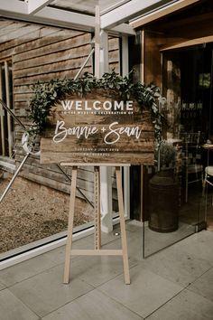 Rustic Wooden Wedding Sign with Foliage Decor | By Sharon Cudworth Photography | Boho Wedding | Outdoors Wedding | Barn Wedding | Wedding Sign | Wedding Decor