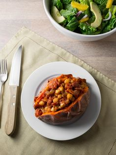 Recipe: Sweet Potatoes with Chickpea Tomato Sauce — Weeknight Dinner Recipes from The Kitchn   The Kitchn