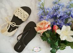Crochet Sandals with Flip Flop Soles - free pattern and tutorial on Sewrella!