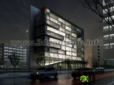 Yantram expert in Design for commercial Building night view with 100% photo realistic 3D exterior rendering view in Bristol , Sheffield,UK