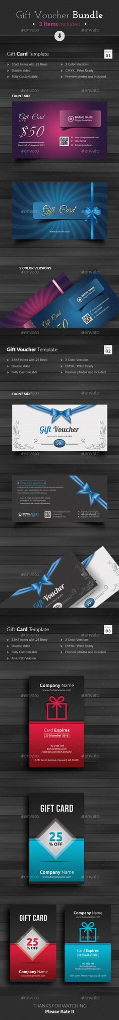 Buy Gift Voucher by themedevisers on GraphicRiver. This Gift Voucher Bundle is best suitable for promoting your business, product or services like beauty salon, spa cen. Gift Voucher Design, Gift Box Design, Print Templates, Design Templates, Spa Center, Relax, Discount Vouchers, Gift Vouchers, Business Card Design