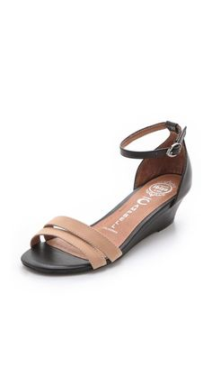 Fashion finds under 200 - Jeffrey Campbell Pierre Wedge Sandals in nude and black via @Shopbop #shopbop #spring #sandals