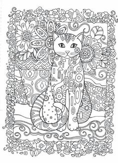 Cat and Owls Abstract Doodle Zentangle ZenDoodle Paisley Coloring ...:
