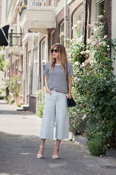 Friday - Elevate casual-Friday staples—denim and a tee—with crisp jean culottes and heels. What to Wear to Work in the summer | StyleCaster