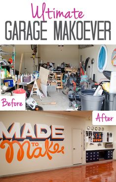 We did a complete garage makeover in under 5 weeks! The garage now has a built in workbench, plenty of storage, and an amazing copper floor.