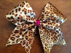 Items similar to Cheer Bow - Cheetah on Etsy Volleyball Bows, Cheerleading Bows, Cheer Bows, Dance Bows, Cheer Dance, Bow Board, Cheer Hair, Little Diva, Bow Accessories