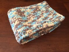 "Hand-Knit Baby Blanket // Chunky Knit Blanket // Bernat Baby Blanket Yarn Beach Babe // yellow, blue, tan // Approx Size 25"" W x 30"" L"