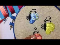 Бабочка вышитая атласными лентами лентами /  Embroidered butterfly satin...