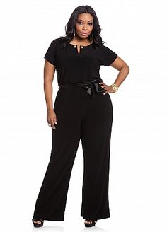 Ashley Stewart: Embellished Keyhole Self-tie Jumpsuit