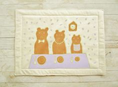 Kids place mat coaster three bears breakfast soft by poppyshome