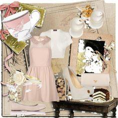 """pastel tea time"" by fabiana-brandimarte ❤ liked on Polyvore"