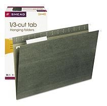 Smead 1/3 Tab Hanging File Folders, Green (Legal)