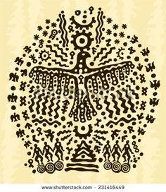 ethnic tribal native prehistoric priest shaman eagle symbol