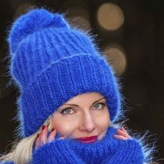 100% Hand knitted mohair hat in blue, one size
