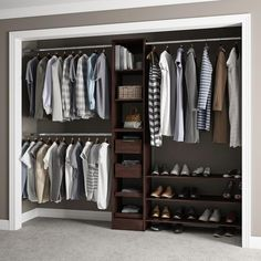 84 in. H x 45 in. to 105 in. W x 15 in. D Reach-In Closet Kit in Mocha (Brown)