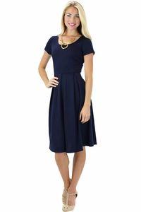 Jen Clothing- Ivy Modest Dress in Navy
