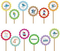 The New Smurfs Smurfete- Printable Custom Party Circle Cupcake Toppers | designdream - Cards on ArtFire