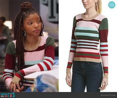 Skylar's multicolored striped sweater on Grown-ish.  Outfit Details: https://wornontv.net/95252/ #Grown-ish