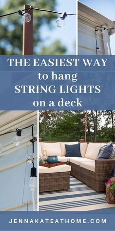How to hang outdoor string lights on a deck - it's so easy to do! Thanks to this pretty string lights overhead weve created a really beautiful ambience and glow on our deck that keeps up out here until late every night. Porch String Lights, Outdoor Hanging Lights, Lights On Deck, Deck Decorating, Patio Lighting, Bedroom Lighting, Diy Deck, Outdoor Projects, Diy Projects