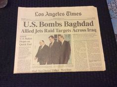 DESERT STORM  NEWSPAPER LOS ANGELES TIMES US BOMBS BAGHDAD 1991