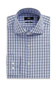 'Miles US'   Sharp Fit, Spread Collar Cotton Check Dress Shirt by Hugo BOSS #poachit