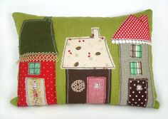 Vintage Fabric Applique House Pillow by RobinsEggBlue on Etsy